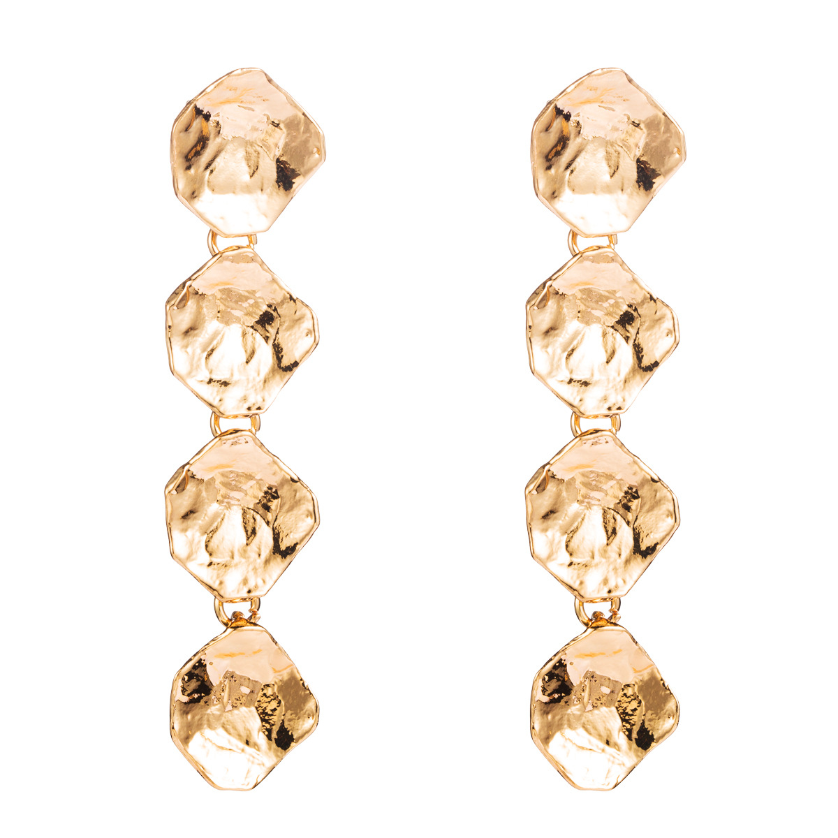Multi-layer alloy irregular hexagonal earrings women's fashion simple metal texture long earrings NHJE176152