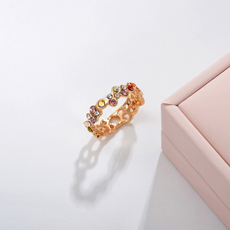 Hot Jewelry Fashion Rose Gold Fancy Diamond Ring Half Circle Hollow Ring Wholesale NHDP194722