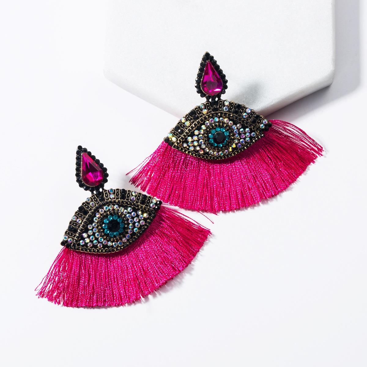 Drop-shaped acrylic-encrusted eye fan-shaped tassel earrings NHJE136402