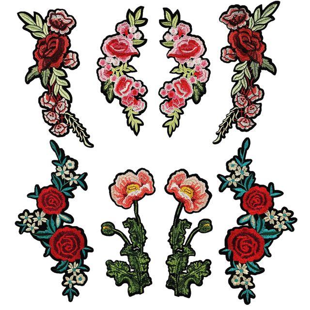 中国风时尚对花布贴 牛仔外套电脑绣花 胸花补丁大号花朵贴布绣