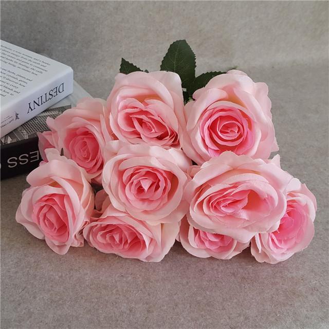 9头玫瑰花束婚礼布置道具仿真玫瑰花批发家居装饰把花跨境货源