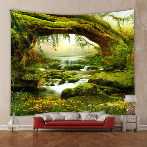 3D printed home decoration Forest creek Starry sky series home tapestry wall hanging decoration