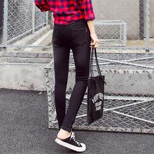 秋季新款女裝 韓版女式中腰彈力牛仔褲小腳褲牛仔女褲鉛筆褲批發