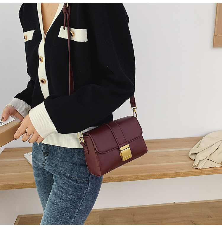 New Fashion Messenger Bag Women Simple Retro Wild Lock One Shoulder Small Square Bag NHPB185176