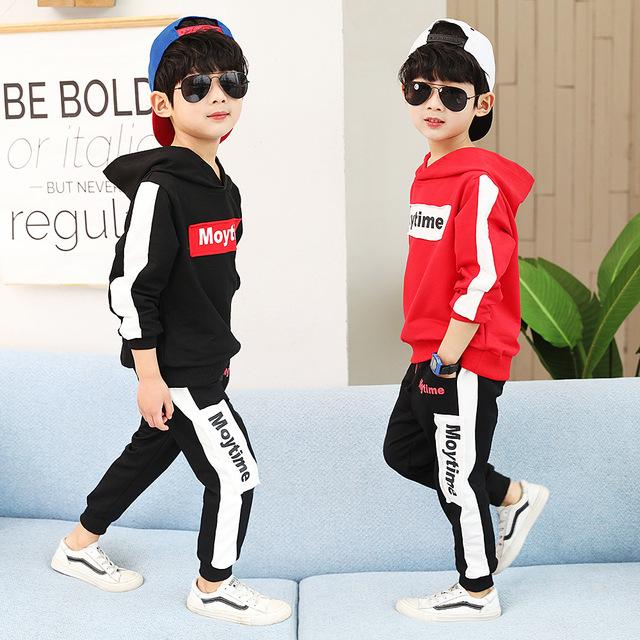 Bộ quần áo bé trai 2019 mới mùa xuân và mùa thu màu sắc thời trang phù hợp với miếng vá hai mảnh bé trai thể thao Bộ đồ trẻ em