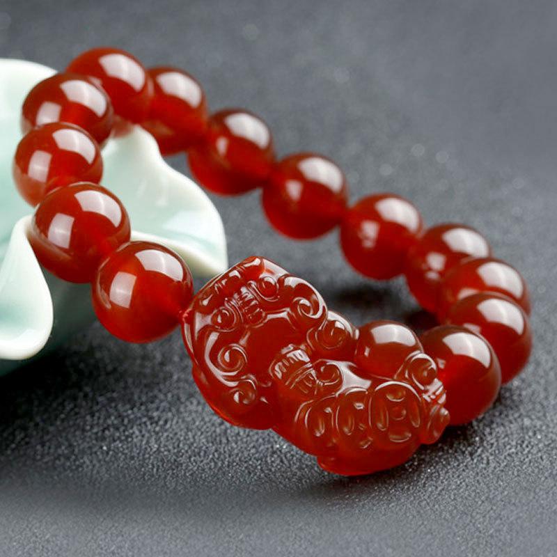 天然红玛瑙貔貅手链批发 男女通用款精品玉石手链 红玉髓貔貅手链