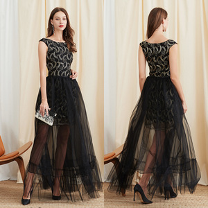 Evening Dresses cocktail party banquet dress vestido de banquete de cóctel Evening dress embroidered high waist Black Sleeveless Dress