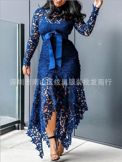 New Style Lace Long-Sleeved Stand-Up Collar Belt Hem Irregular Dress