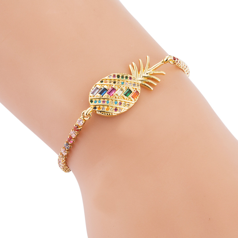 Full copper pull adjustable Xiaoqing new pineapple inlaid color zircon bracelet NHLN187260