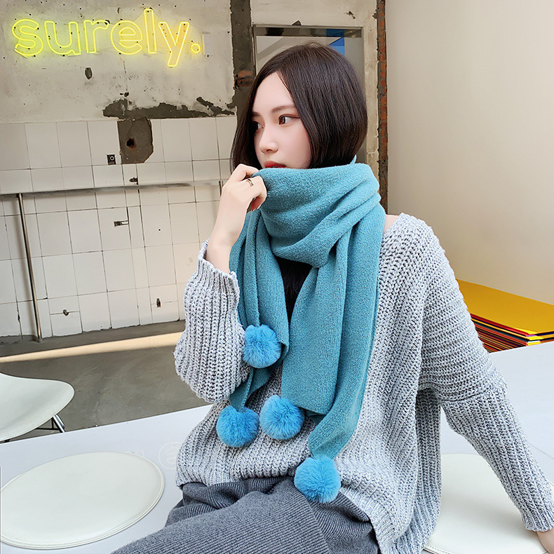 Scarf female new solid color imitation cashmere hanging ball thick warm shawl collar female NHTZ179989