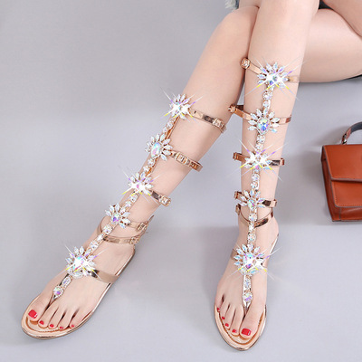 Bohemian high top diamond flat sandals Roman flat toe one button sandals