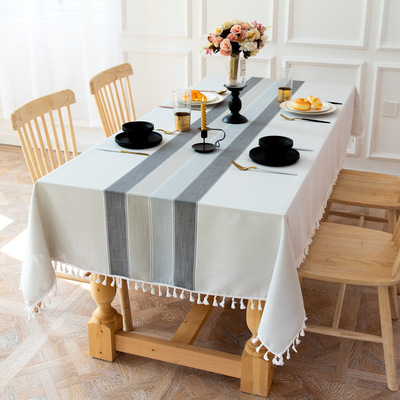 Tablecloth table cloth table cover Modern art stripe table party tassel cotton hemp dustproof table mat decoration table cover