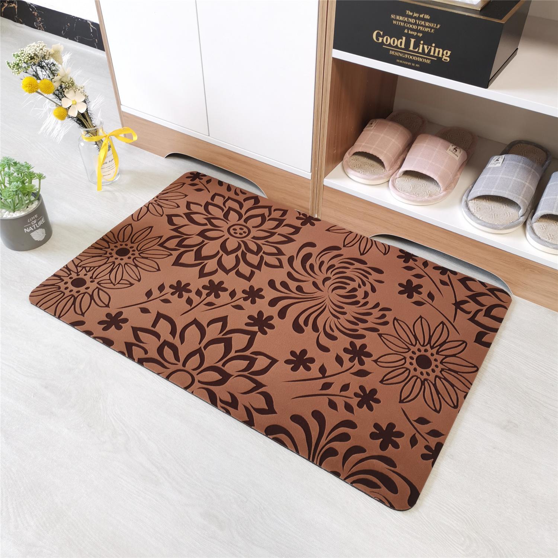 地板垫橡胶防水浴室防滑垫植绒进门脚垫卧室客厅地毯厨房地垫门垫