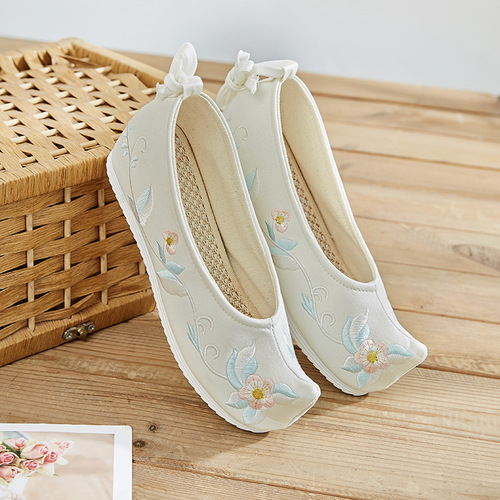 Ancient chinese hanfu kimono dress shoes for children Hanfu shoes embroidered shoes Bow Shoes for women