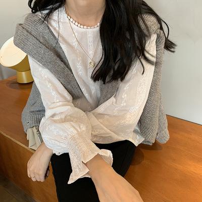黄峥甜美系灯笼袖蕾丝钩花娃娃衬衫女2019秋季韩版减龄上衣