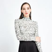 2019秋冬新款欧美风女装高领印花针织衫打底字母时尚洋气长袖t恤