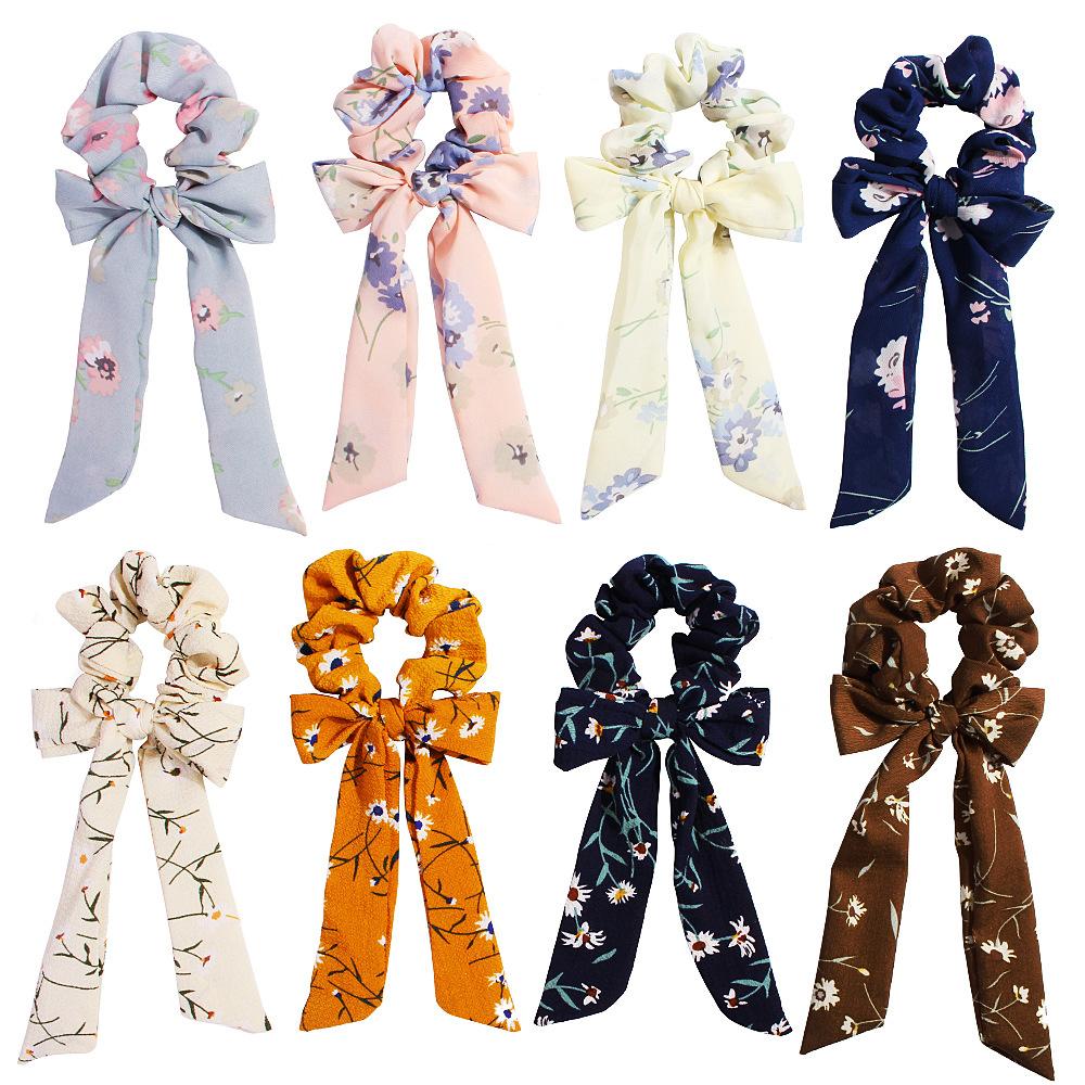 New fashion retro pop chiffon solid color bow ribbon cheap hair ring wholesale NHDM205051