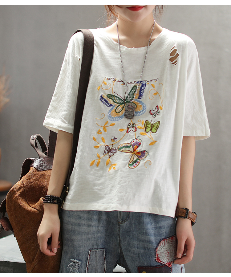 2019 Plus size womens t shirt tops spring summer butterfly Embroidery loose casual t shirts 19