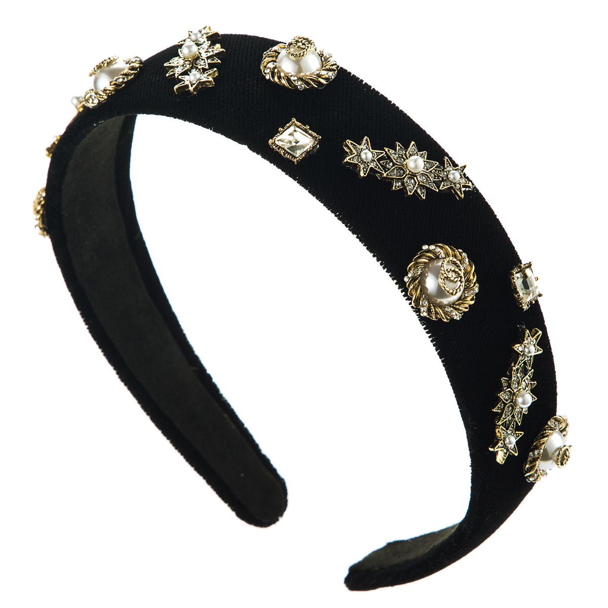 Flannel star round alloy diamond diamond rhinestone pearl headband female headband NHJE185829