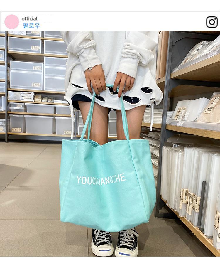Fashion student letter canvas shoulder bag NHHX158070