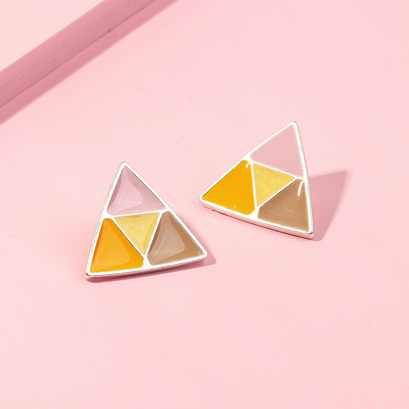 Simple and small triangle color matching earrings personalized creative geometric color earrings NHNZ189897