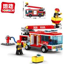 萬格2626 登高消防車拼裝小顆粒積木益智男孩子速賣通商場批發