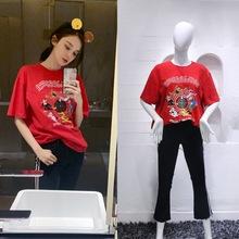 2019春夏新款古力娜扎同款卡通印花紅色T恤針織上衣貼織帶喇叭褲