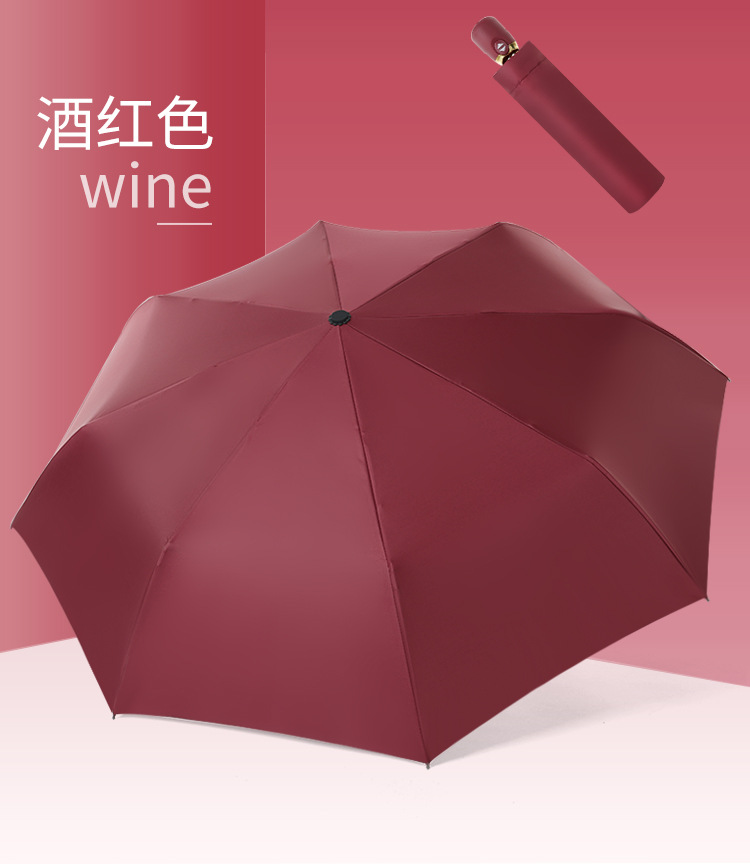 Creative fully automatic solid color black plastic sunscreen UV protection sun umbrella NHNN202038