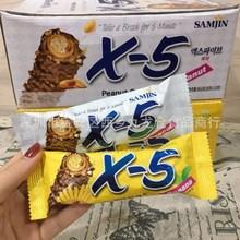 批发韩国进口食品X5代可可脂巧克力棒夹心榛果仁小零食36g24根1盒