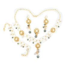 中東外貿出口高檔氣質優雅歐美風項鏈首飾套裝 合金鑲鉆結婚項飾
