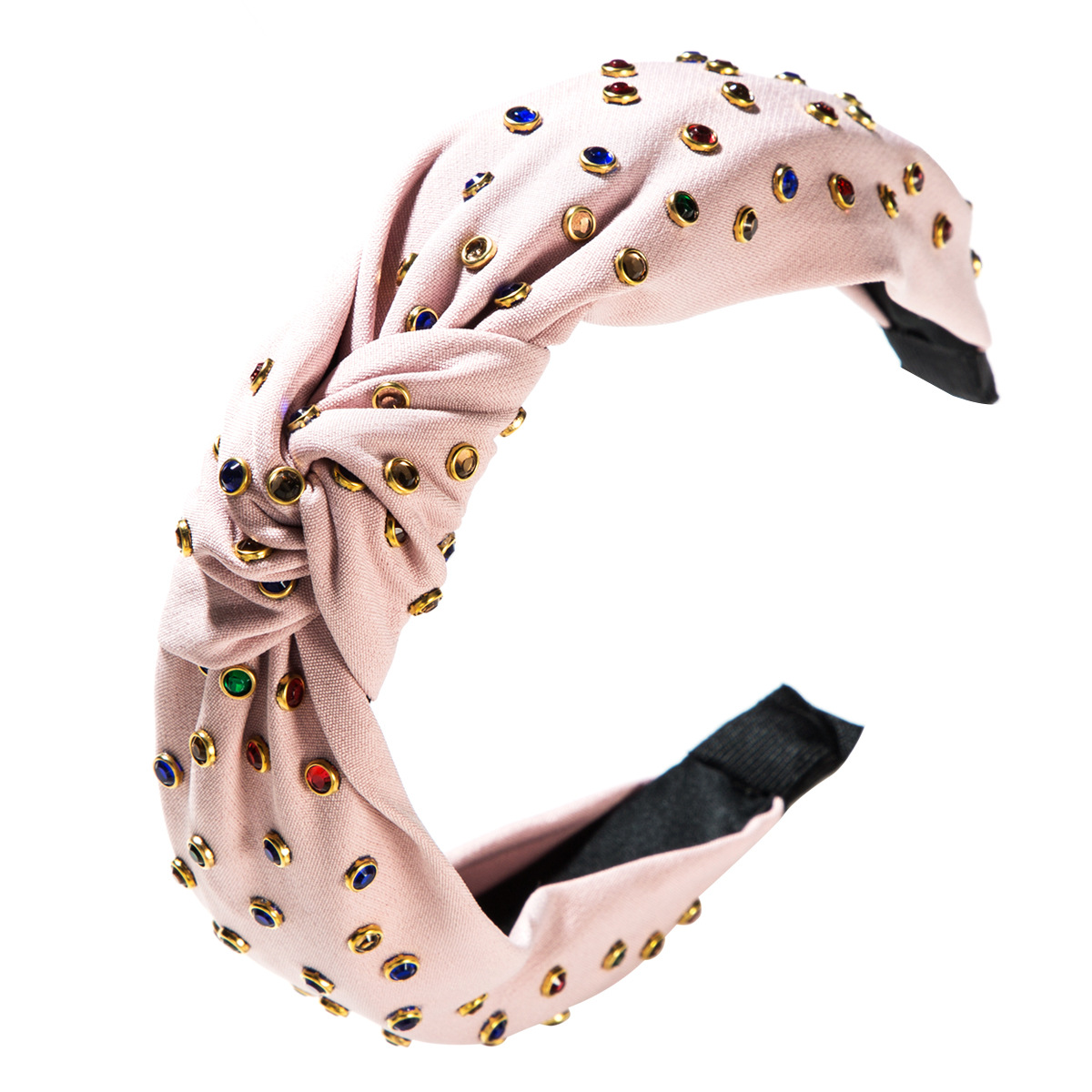 Star Street, wind, hand, hot drilling, color diamond, knotted, wide-brimmed headband NHLN152118
