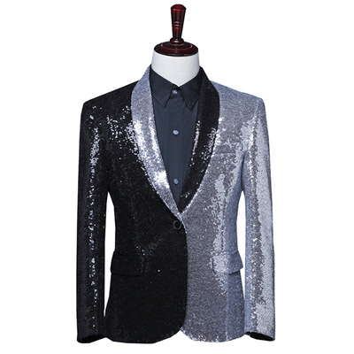 men's jazz dance suit blazers Male singer western half black and half silver Sequin suit asymmetric coat hairdresser green fruit collar top