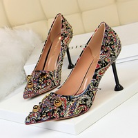 278-12 Retro-European and American High-heel Coloured Fabric with Shallow Point and Slender High-heel Banquet Women's Shoes Water Diamond Single Shoes