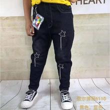 秋季新款牛仔裤黑色小脚裤童裤简约星星图案时尚韩版批发一件代发