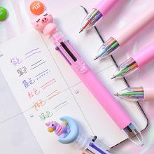 日韩抖音网红可爱卡通彩色6色按动圆珠笔 学生多功能手账记号笔