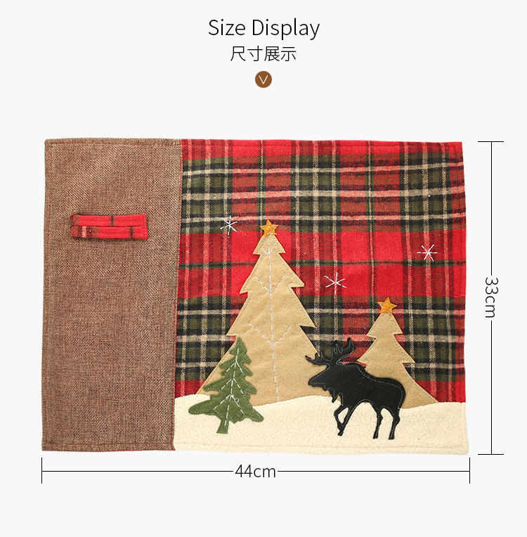Christmas decorations, plaid cloth, placemat, elk, small tree, table mat, insulation pad, knife and fork, cross-border NHMV176259