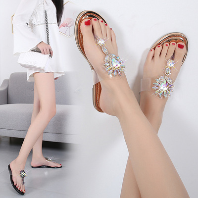 Bohemian transparent sunflower crystal flip flop flat bottom comfortable flip flop