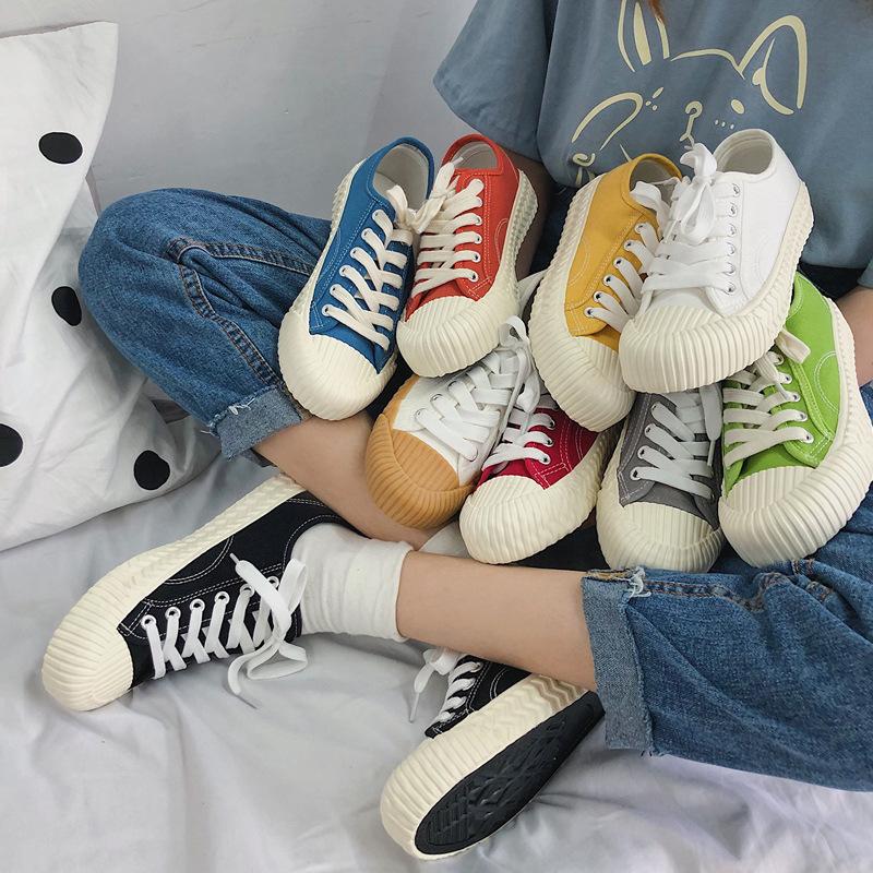 餅干鞋新款原宿帆布鞋女學生韓版百搭平底白鞋女夏季透氣街拍單鞋