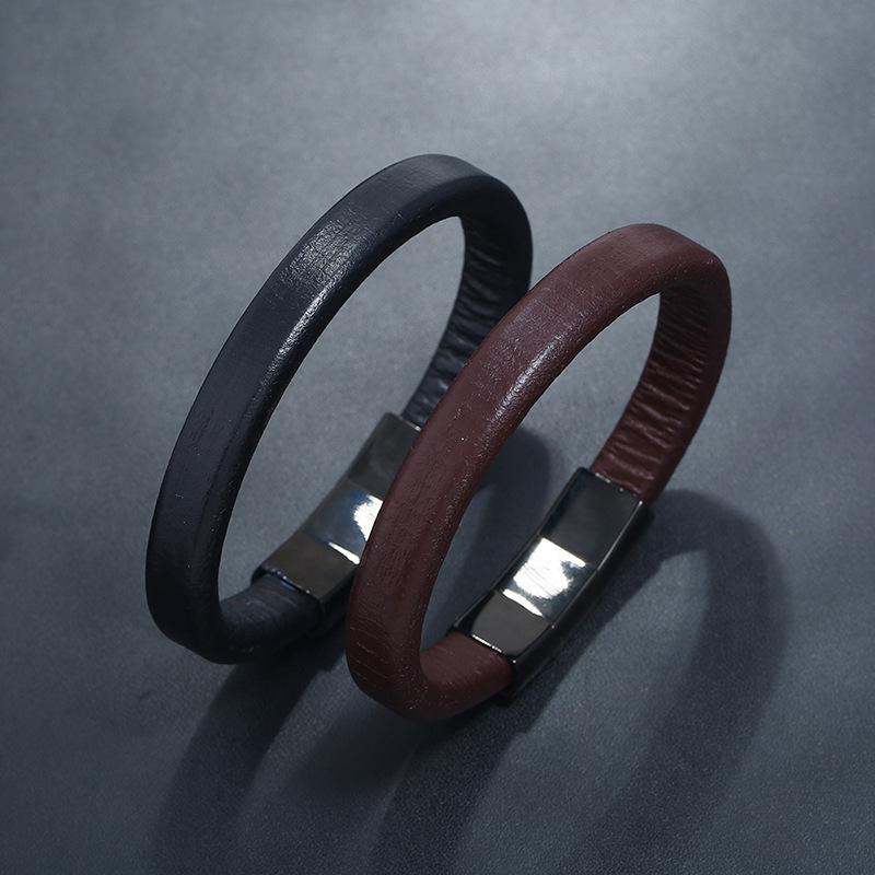 Simple and versatile stainless steel cowhide bracelet NHPK142802