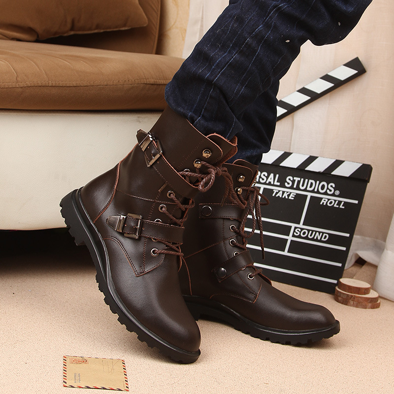 Winter New Leather Motorcycle Men Boots Shoes