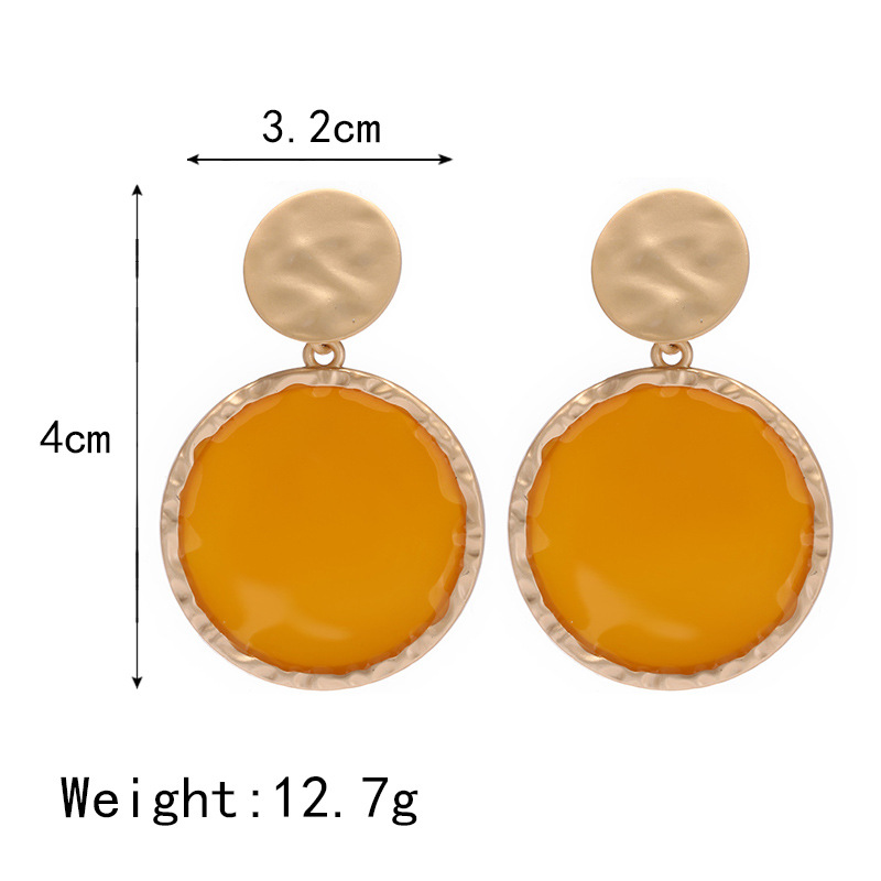 Fashion new earrings personality creative metal round oil drop pendant earrings NHPF182728