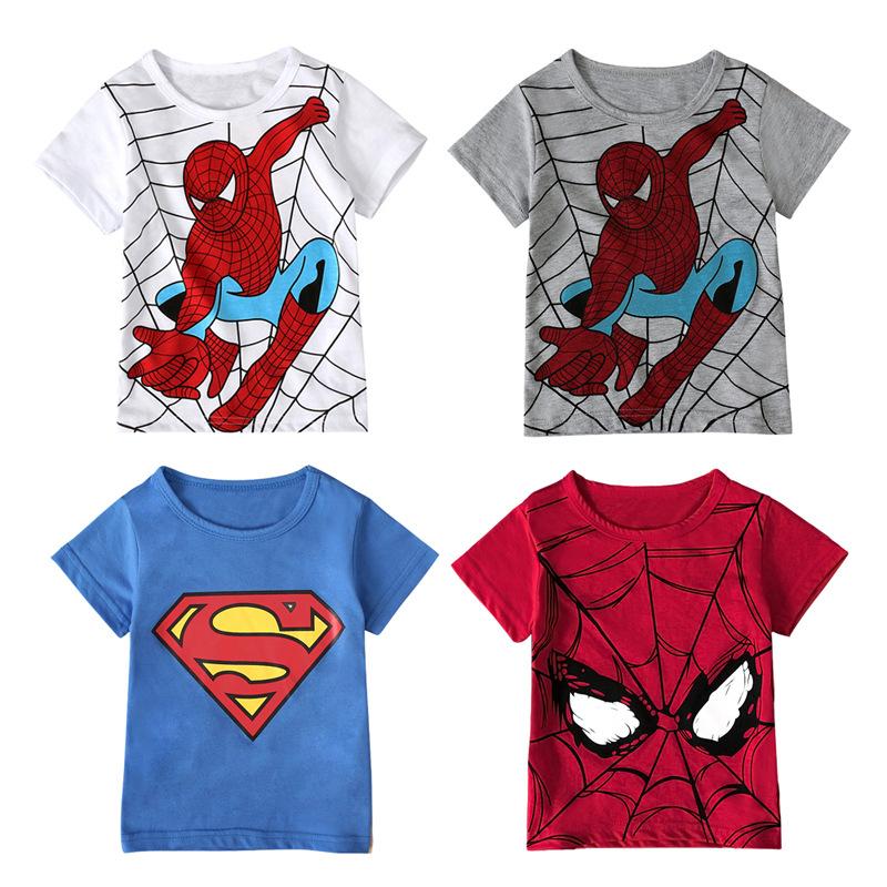 男孩儿童欧美夏季款 圆领短袖蜘蛛侠卡通多款图案T恤上衣童装 ins