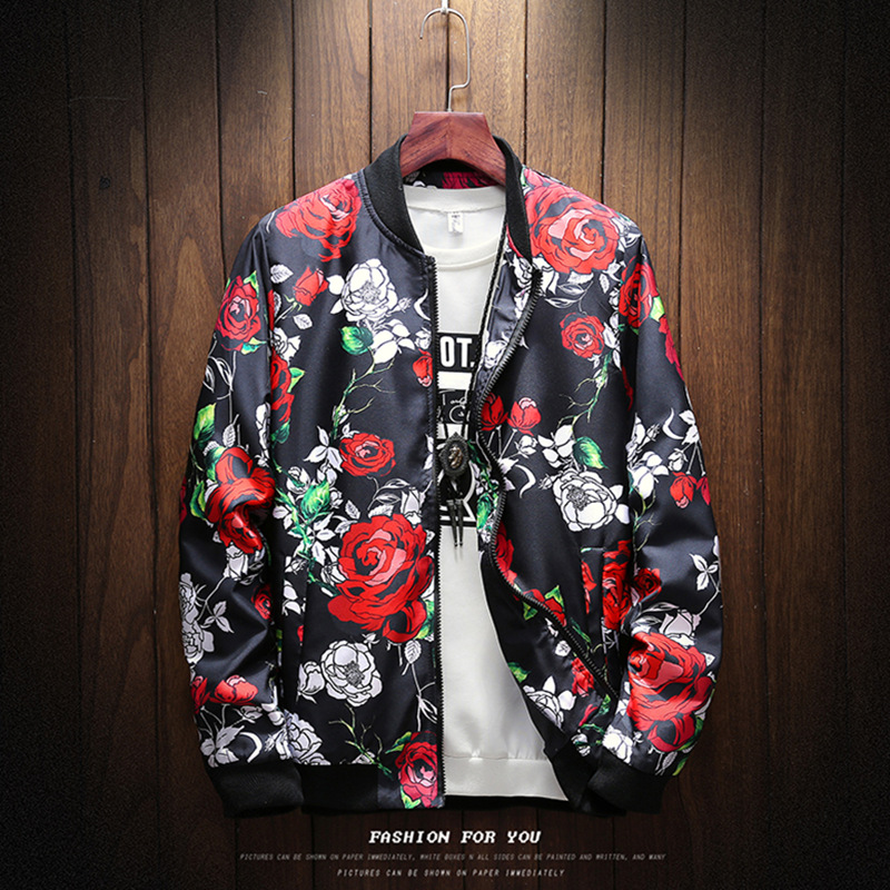 Spring and autumn new men's oversized standing collar printed jacket men's casual flower coat fashionable men's thin top