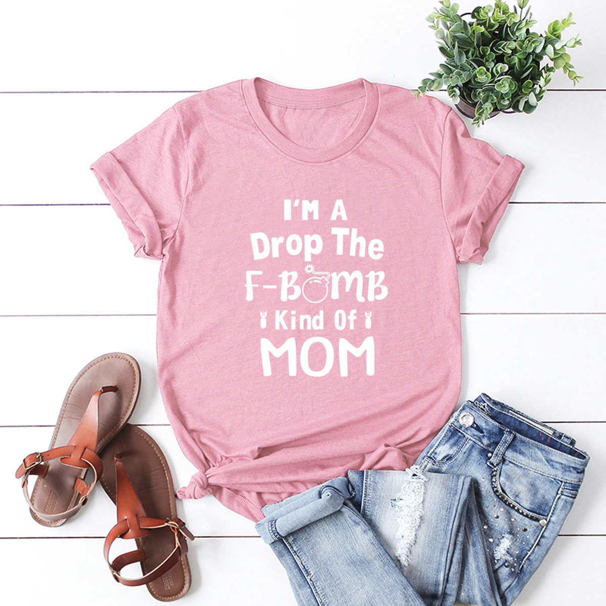 comfortable letters short-sleeved T-shirt  NSSN3671