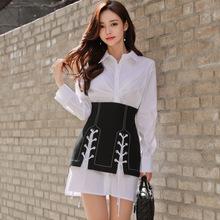 2019春装新款韩版女装名媛修身显瘦翻领两件套绑带修身衬衫连衣裙