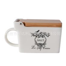 【小額批發】外貿原單陶瓷鹽罐 復古風陶瓷調味罐