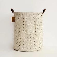 外贸家居用品棉麻束口收纳筐,储物桶布艺收纳桶 咖啡束口