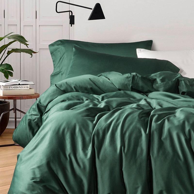 简约60支长绒棉贡缎纯色四件套 全棉纯棉床单被套北欧风1.8m床品