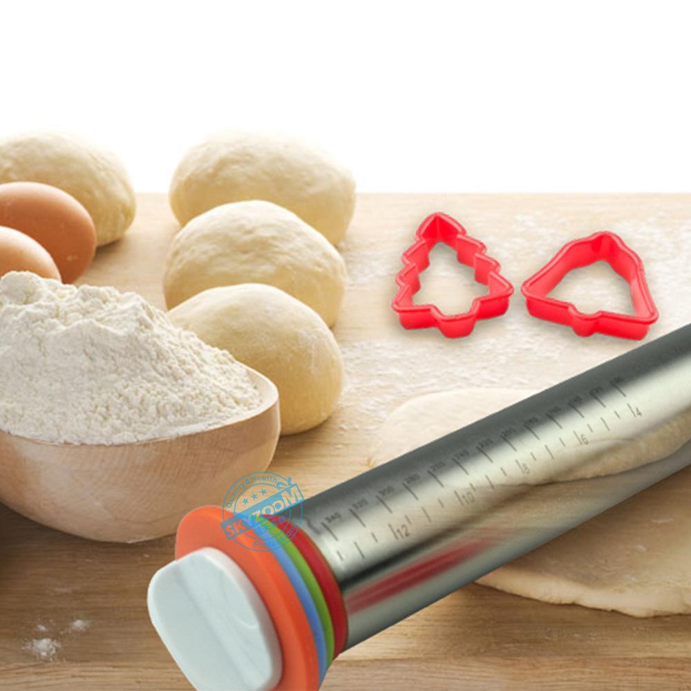 亚马逊厨房工具多尺寸擀面杖 可调型不锈钢面粉棍 调节厚度揉面