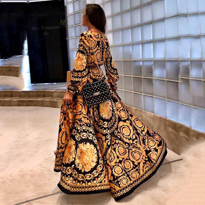 Amazon cross border New Middle East women's dress in ss2019 sexy deep V-neck split dress printed long skirt woman